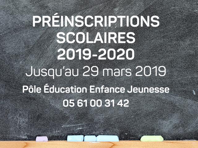 Pré-inscriptions scolaires 2019/2020